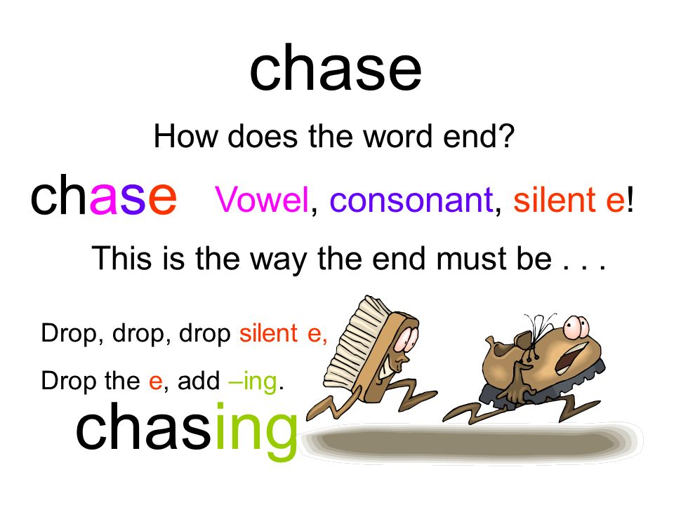 chase chasing chase Vowel, consonant, silent e! How does the word end