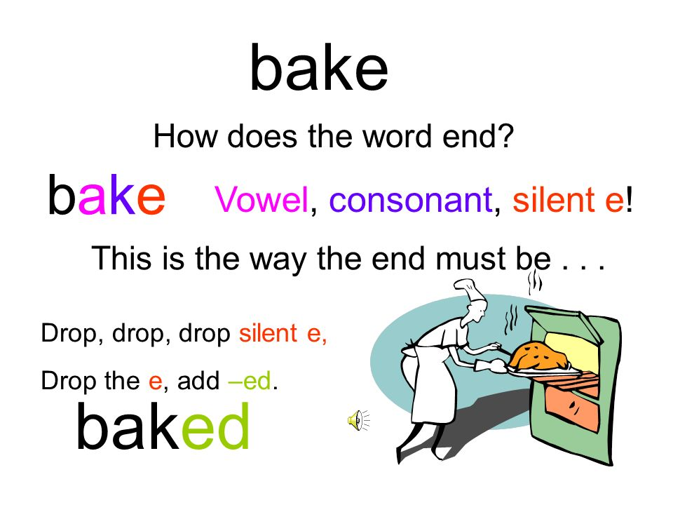 bake baked bake Vowel, consonant, silent e! How does the word end