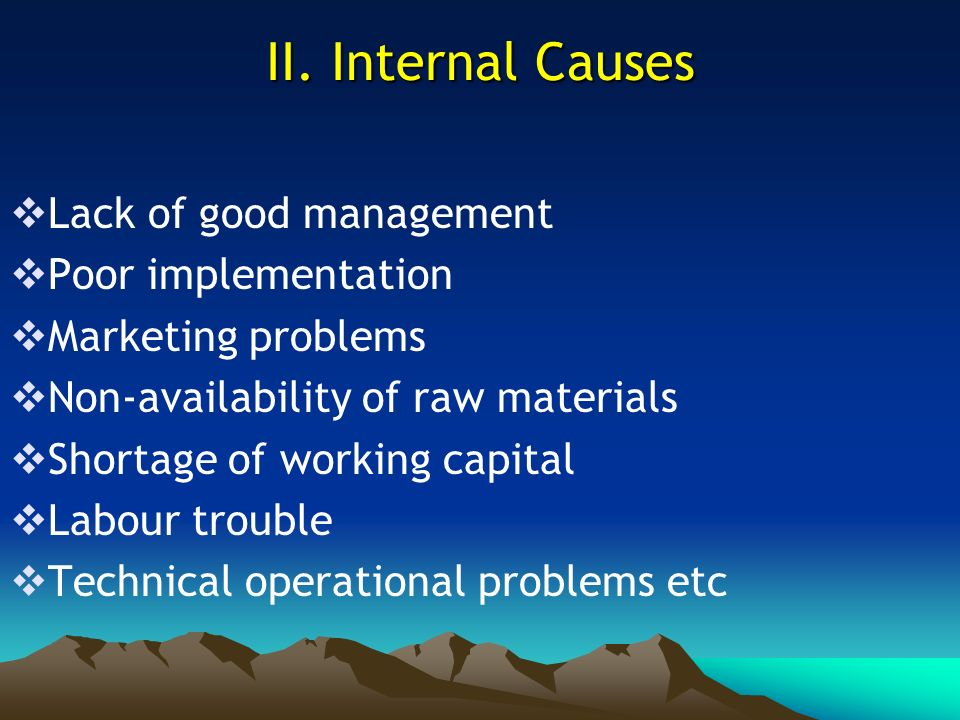 II. Internal Causes Lack of good management Poor implementation
