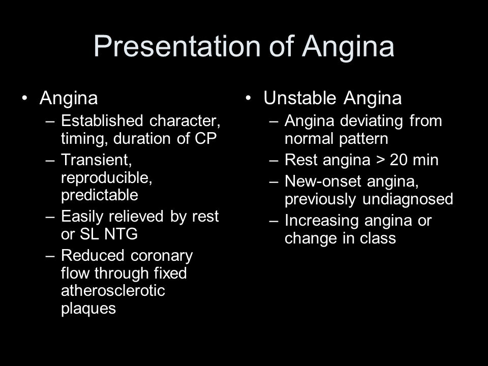 Presentation of Angina