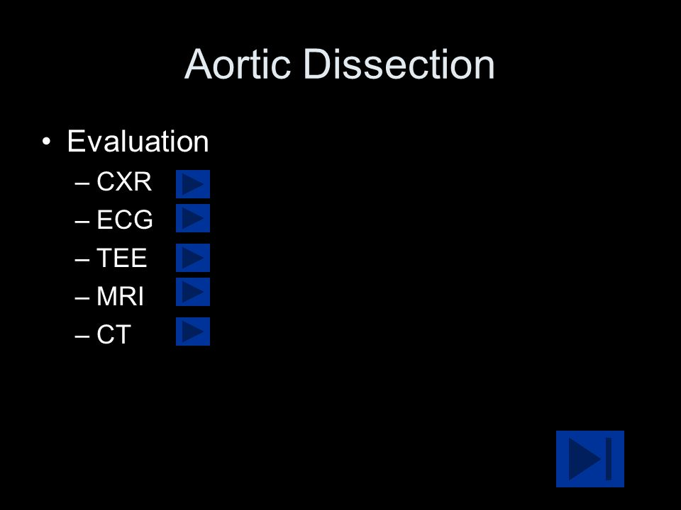 Aortic Dissection Evaluation CXR ECG TEE MRI CT