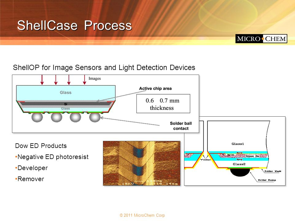ShellCase Process ShellOP for Image Sensors and Light Detection Devices. Dow ED Products. Negative ED photoresist.