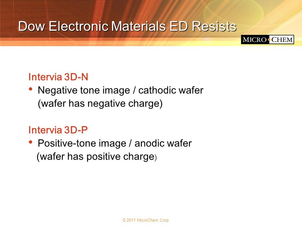 Dow Electronic Materials ED Resists