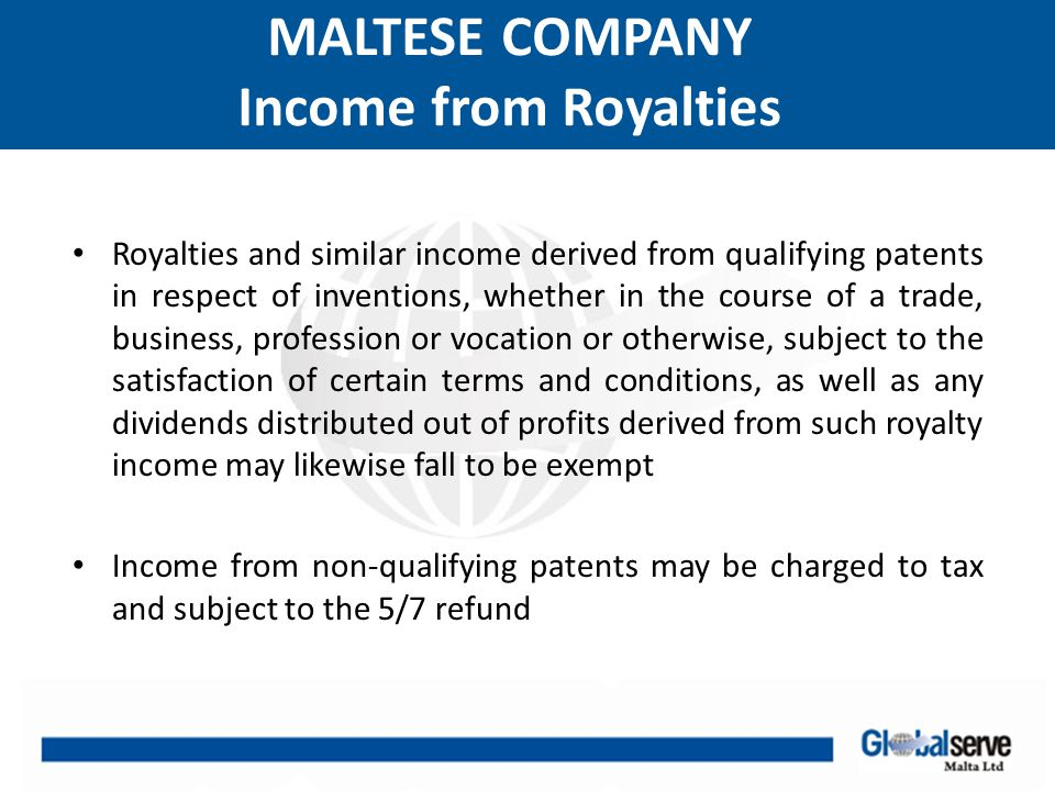 MALTESE COMPANY Income from Royalties