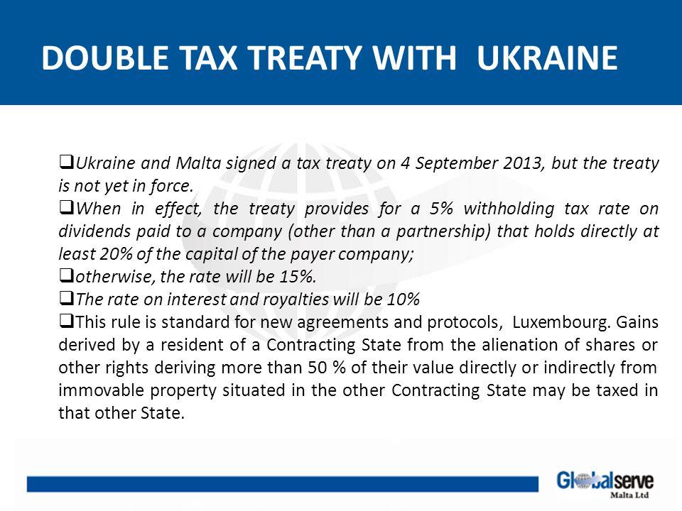 DOUBLE TAX TREATY WITH UKRAINE