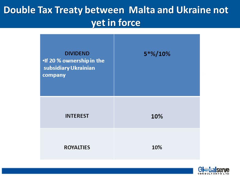 Double Tax Treaty between Malta and Ukraine not yet in force