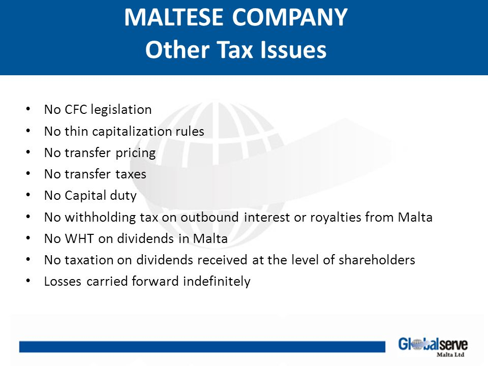 MALTESE COMPANY Other Tax Issues