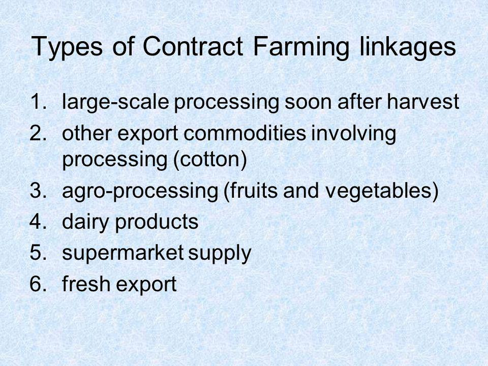 Types of Contract Farming linkages