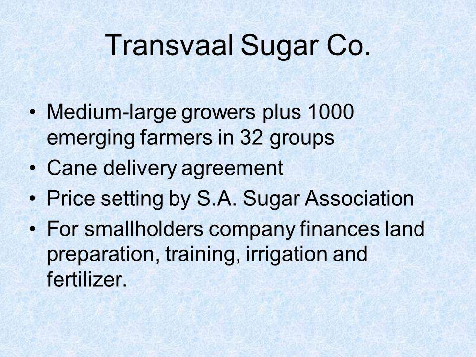 Transvaal Sugar Co. Medium-large growers plus 1000 emerging farmers in 32 groups. Cane delivery agreement.