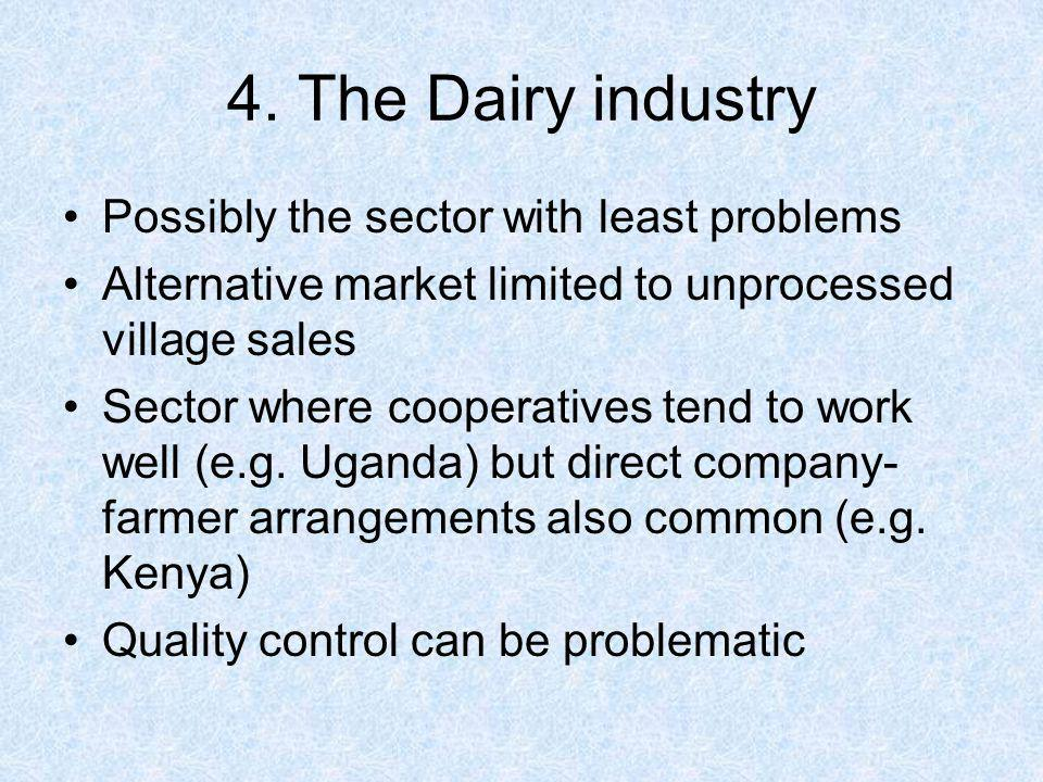 4. The Dairy industry Possibly the sector with least problems