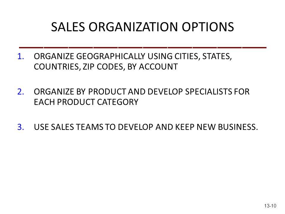 SALES ORGANIZATION OPTIONS