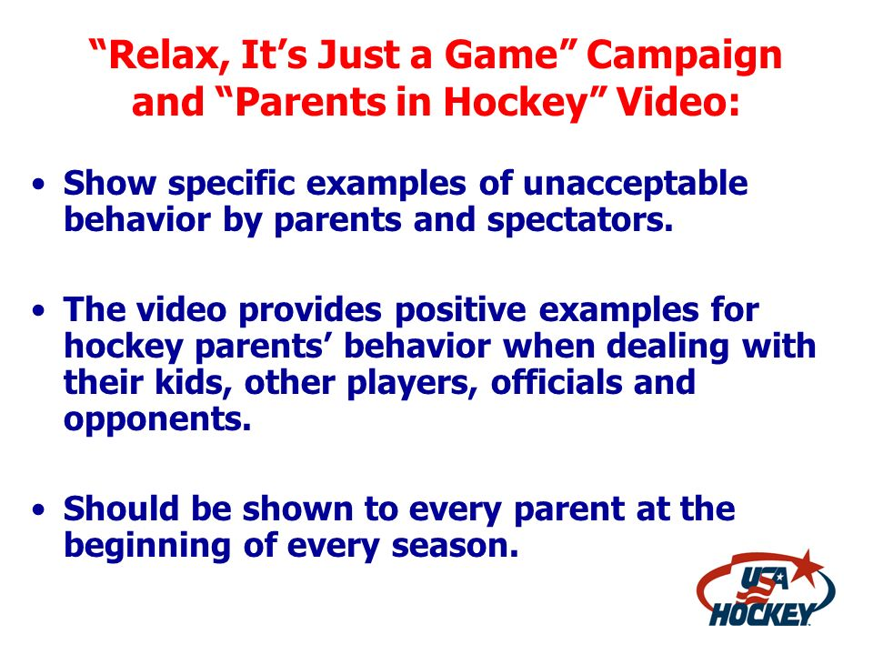 Relax, It's Just a Game Campaign and Parents in Hockey Video: