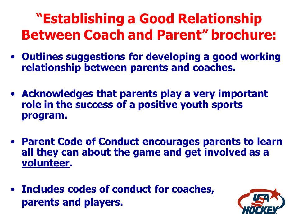 Establishing a Good Relationship Between Coach and Parent brochure: