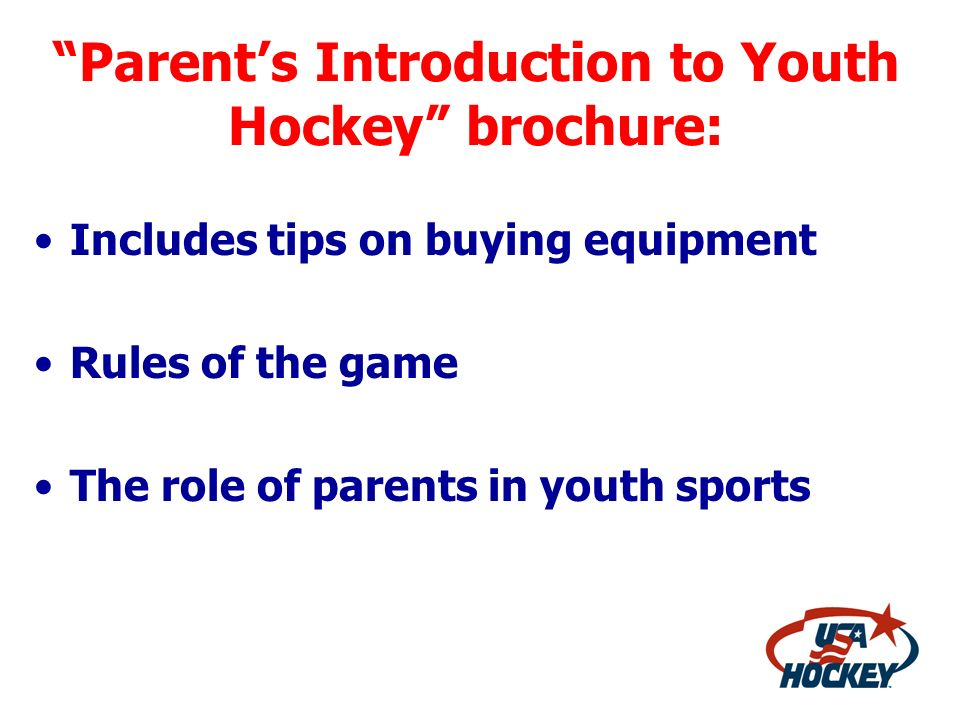 Parent's Introduction to Youth Hockey brochure: