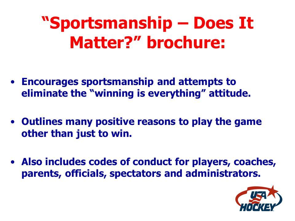 Sportsmanship – Does It Matter brochure: