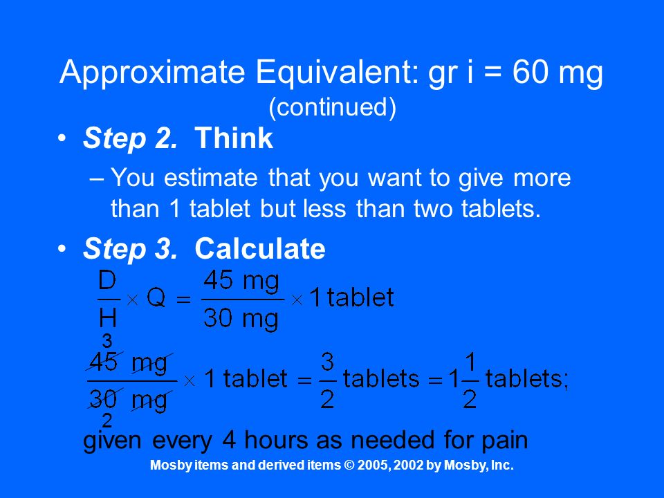 Approximate Equivalent: gr i = 60 mg (continued)