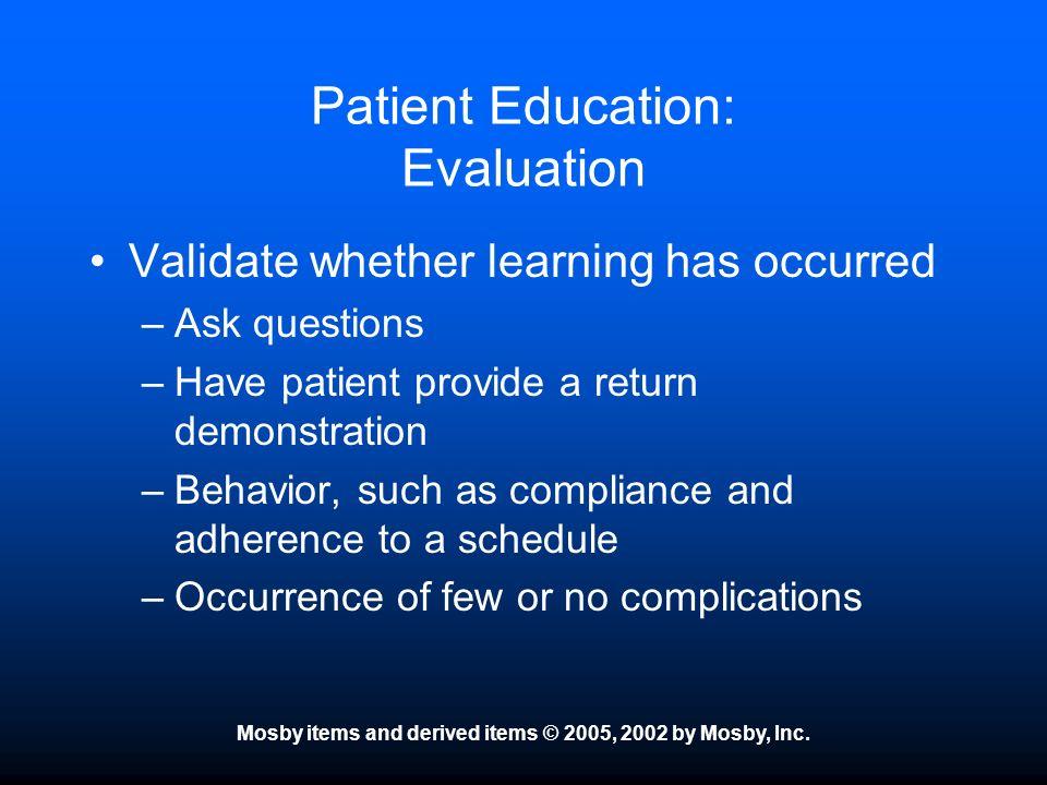 Patient Education: Evaluation