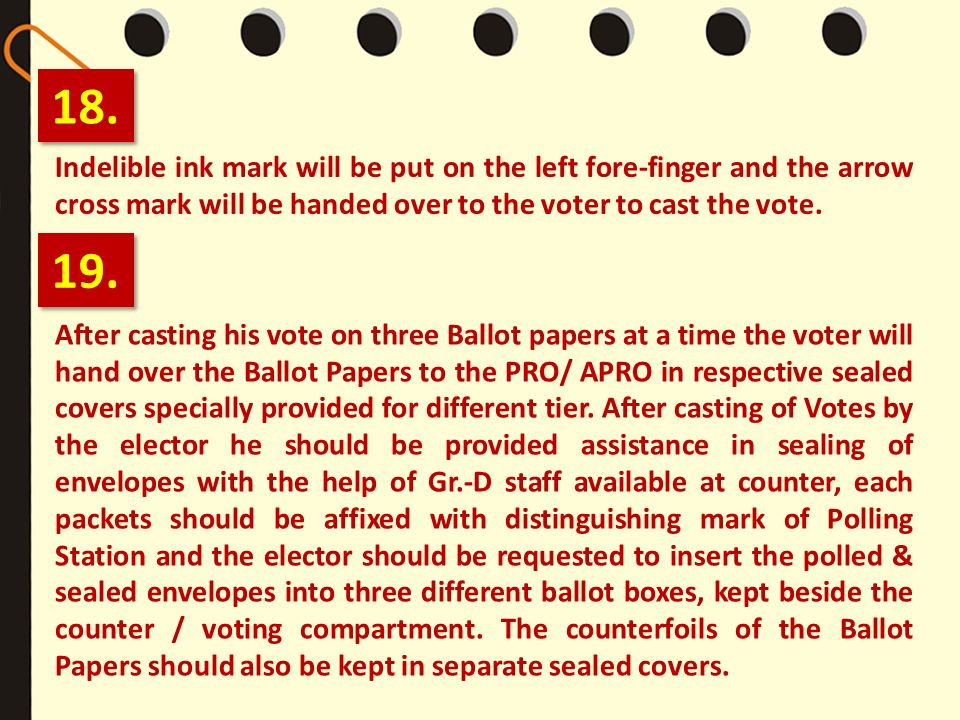 18.Indelible ink mark will be put on the left fore-finger and the arrow cross mark will be handed over to the voter to cast the vote.