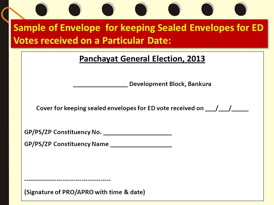 Sample of Envelope for keeping Sealed Envelopes for ED Votes received on a Particular Date:
