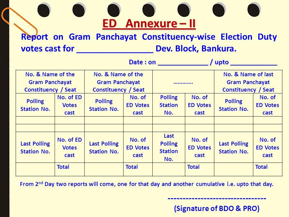ED Annexure – IIReport on Gram Panchayat Constituency-wise Election Duty votes cast for ________________ Dev. Block, Bankura.