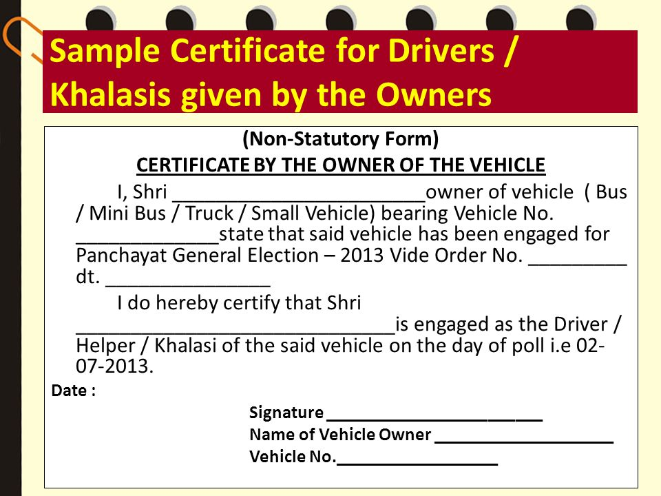 Sample Certificate for Drivers / Khalasis given by the Owners