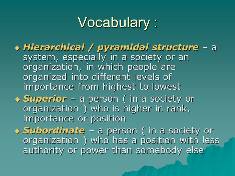 Vocabulary :