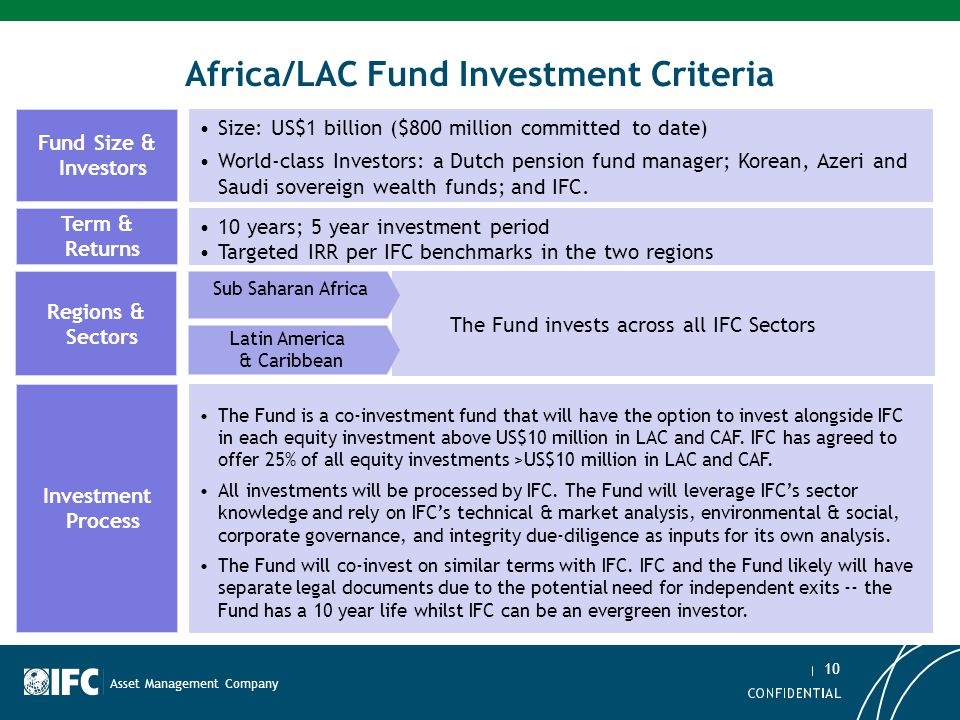 Africa/LAC Fund Investment Criteria