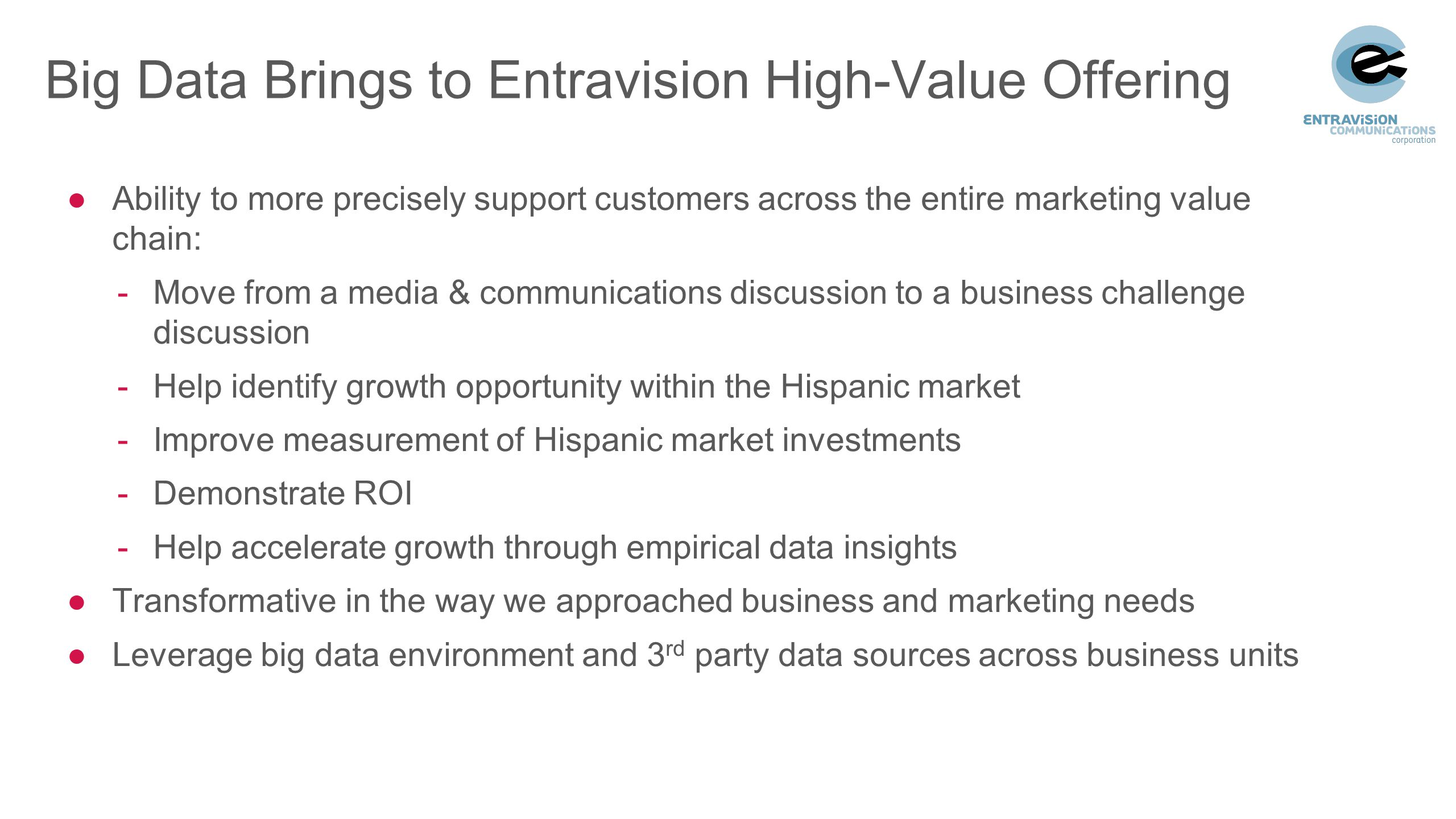Big Data Brings to Entravision High-Value Offering