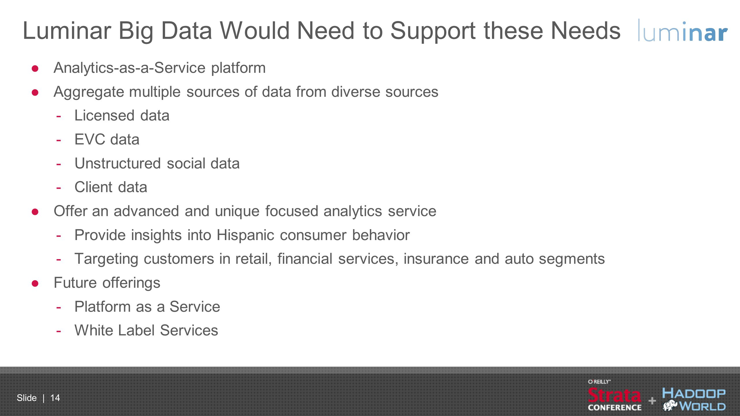 Luminar Big Data Would Need to Support these Needs