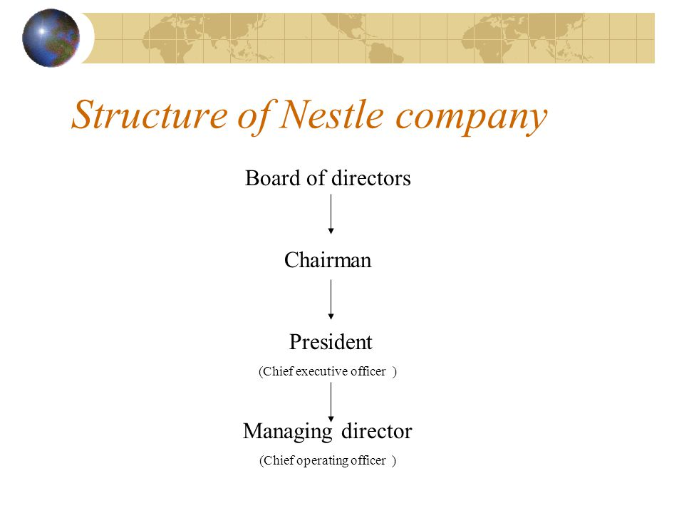 Structure of Nestle company