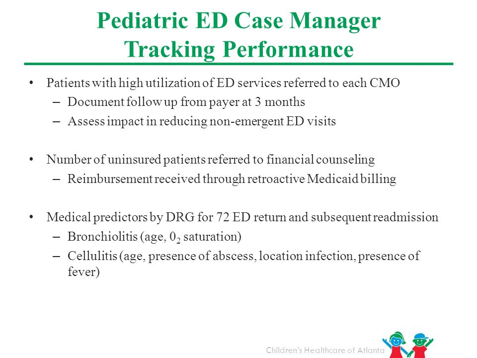 Pediatric ED Case Manager Tracking Performance