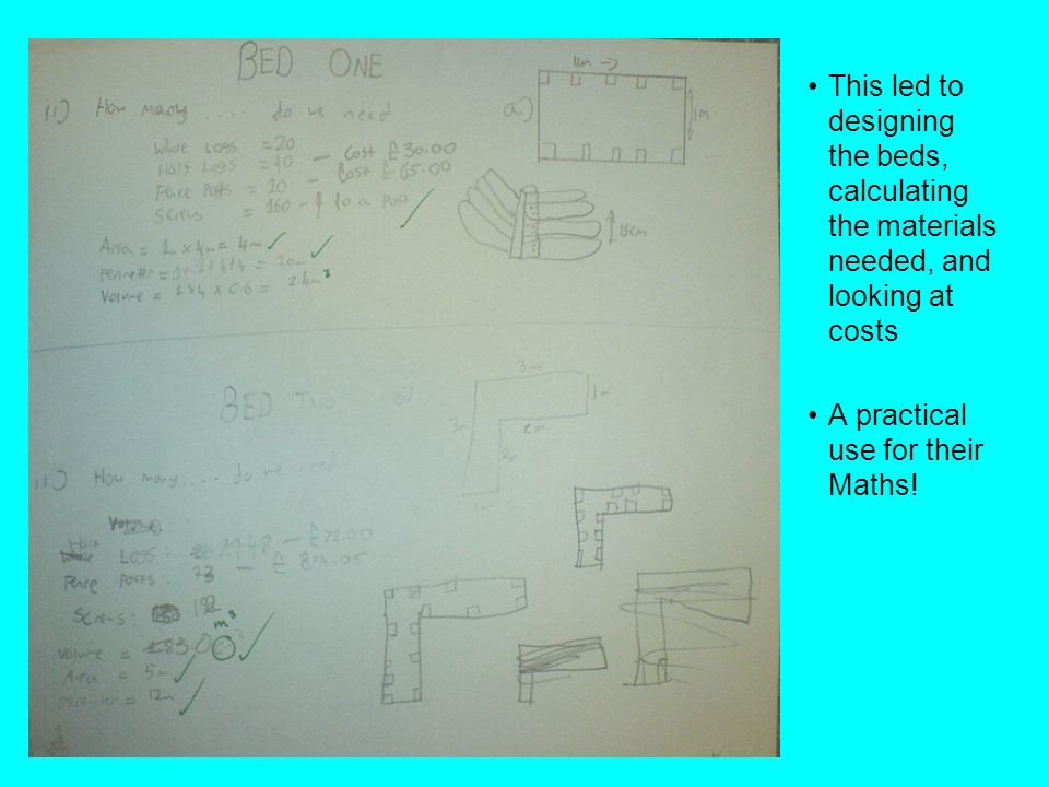 This led to designing the beds, calculating the materials needed, and looking at costs