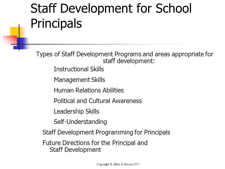Staff Development for School Principals