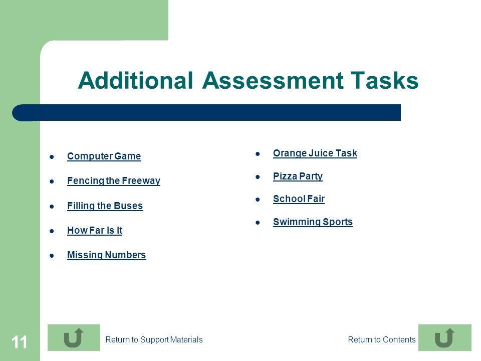 Additional Assessment Tasks