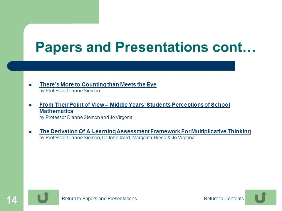 Papers and Presentations cont…