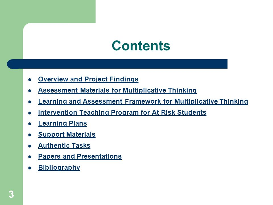 Contents Overview and Project Findings