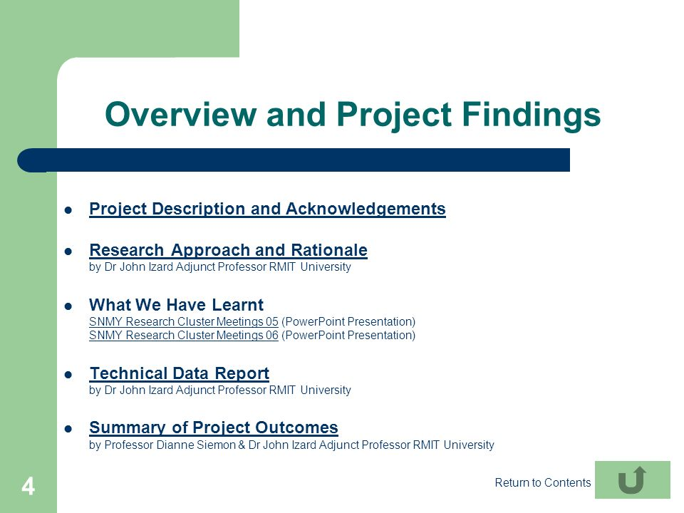 Overview and Project Findings