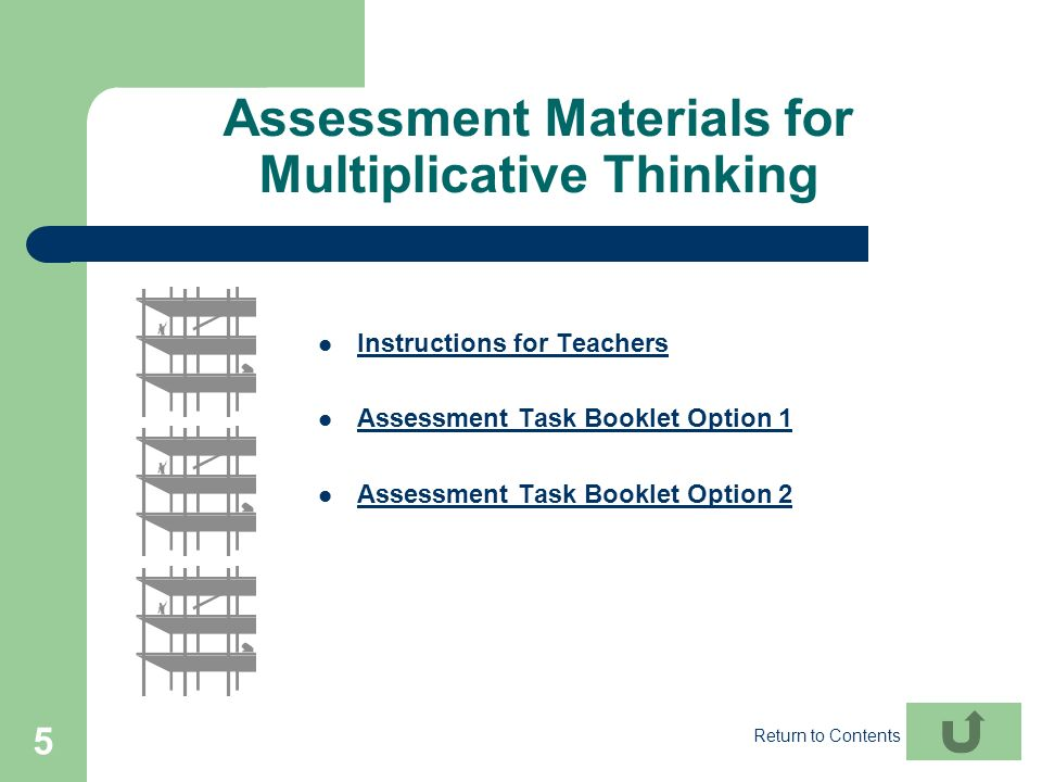 Assessment Materials for Multiplicative Thinking