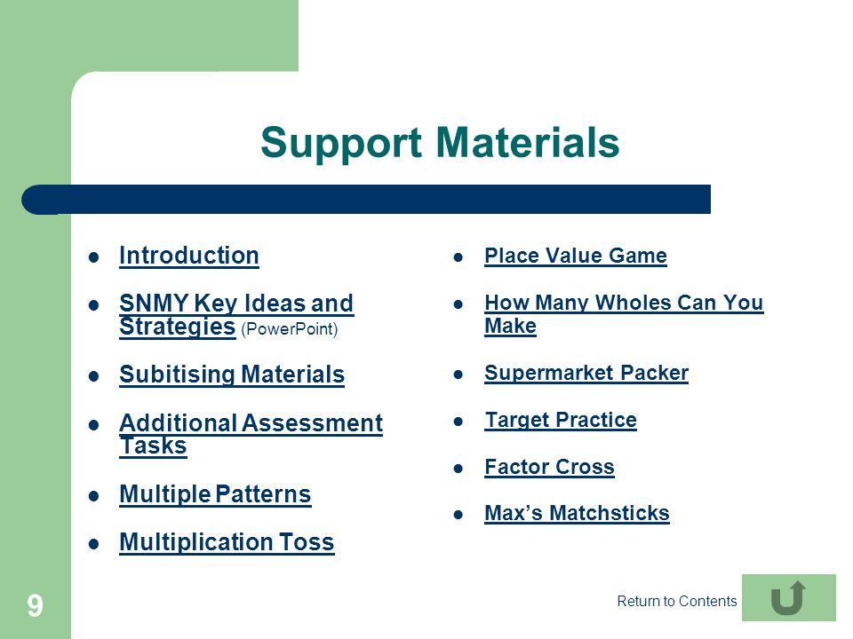 Support Materials Introduction