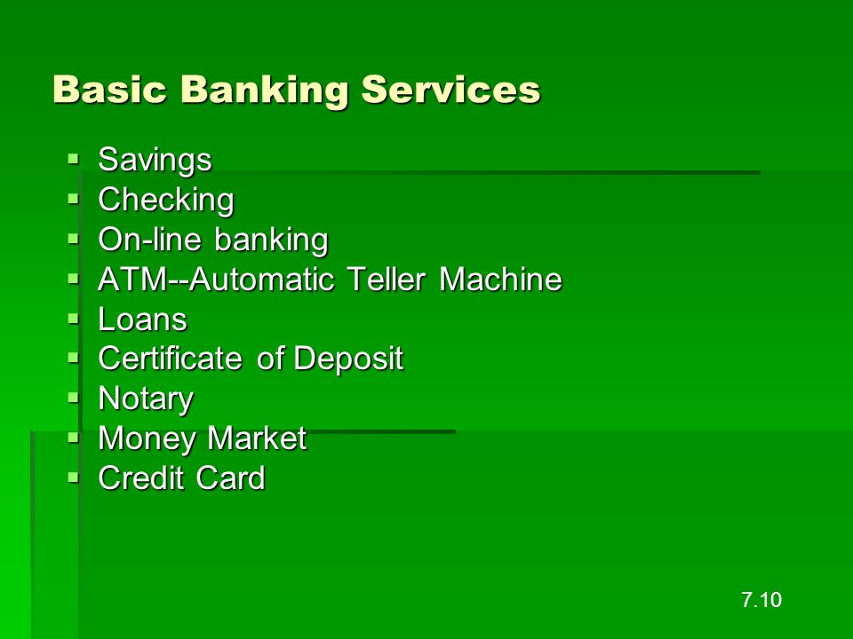 Basic Banking Services