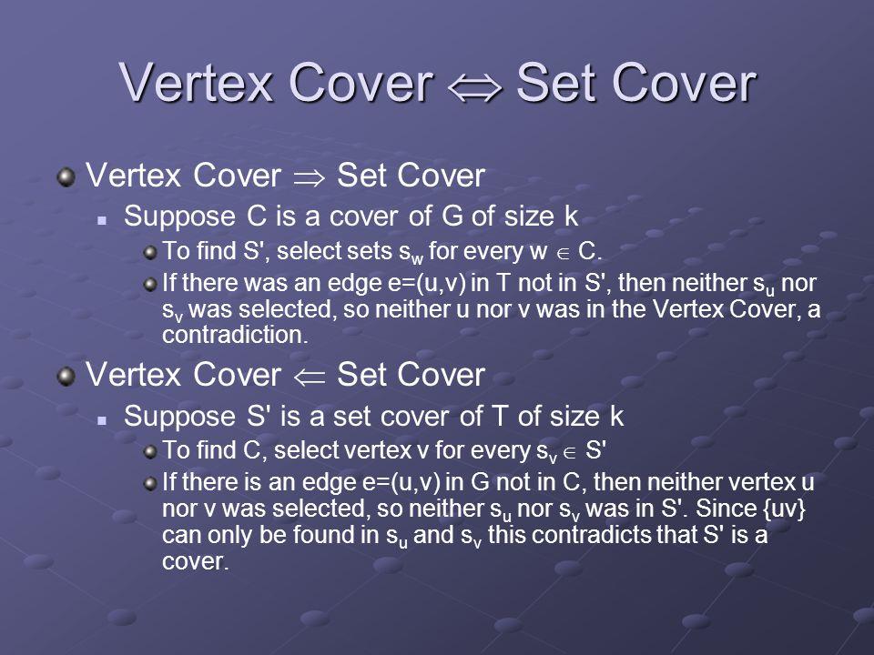 Vertex Cover  Set Cover