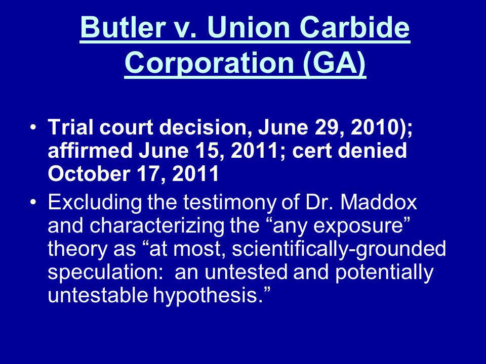 Butler v. Union Carbide Corporation (GA)
