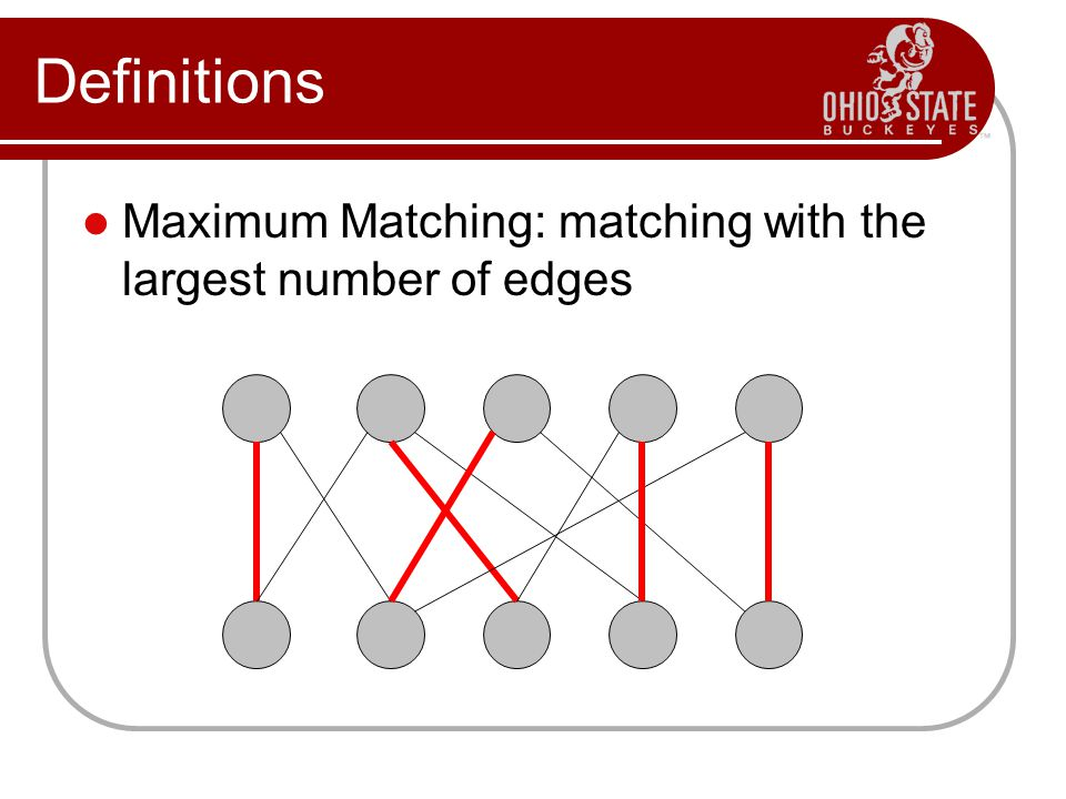 Definitions Maximum Matching: matching with the largest number of edges