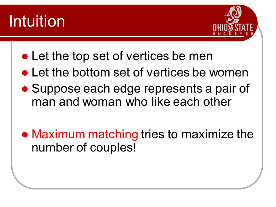 Intuition Let the top set of vertices be men