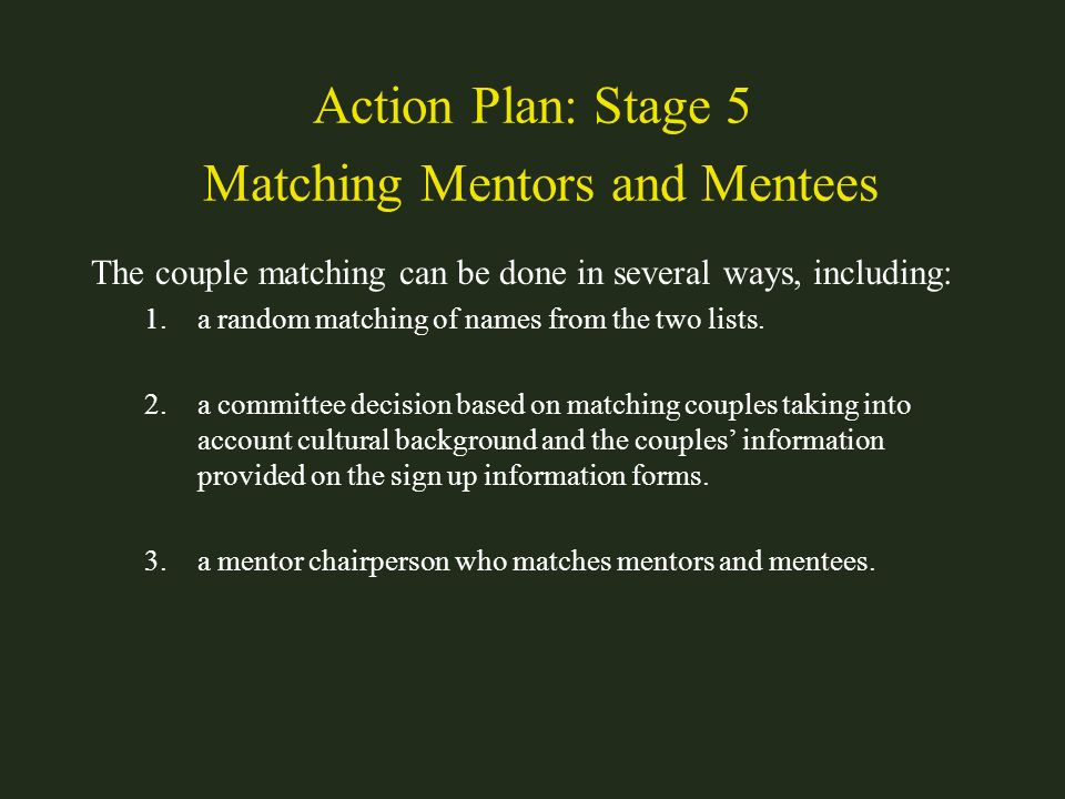 Action Plan: Stage 5 Matching Mentors and Mentees