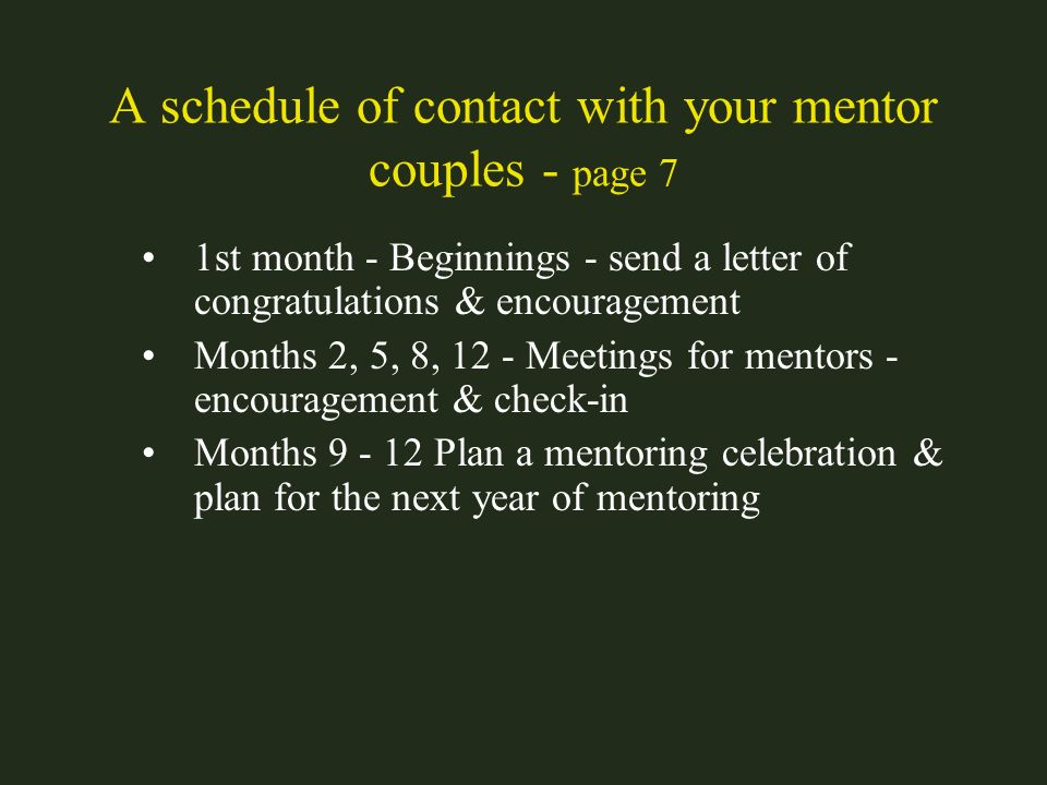 A schedule of contact with your mentor couples - page 7