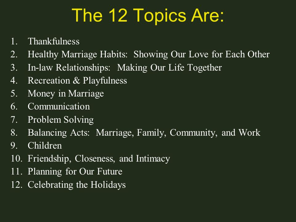 The 12 Topics Are: Thankfulness