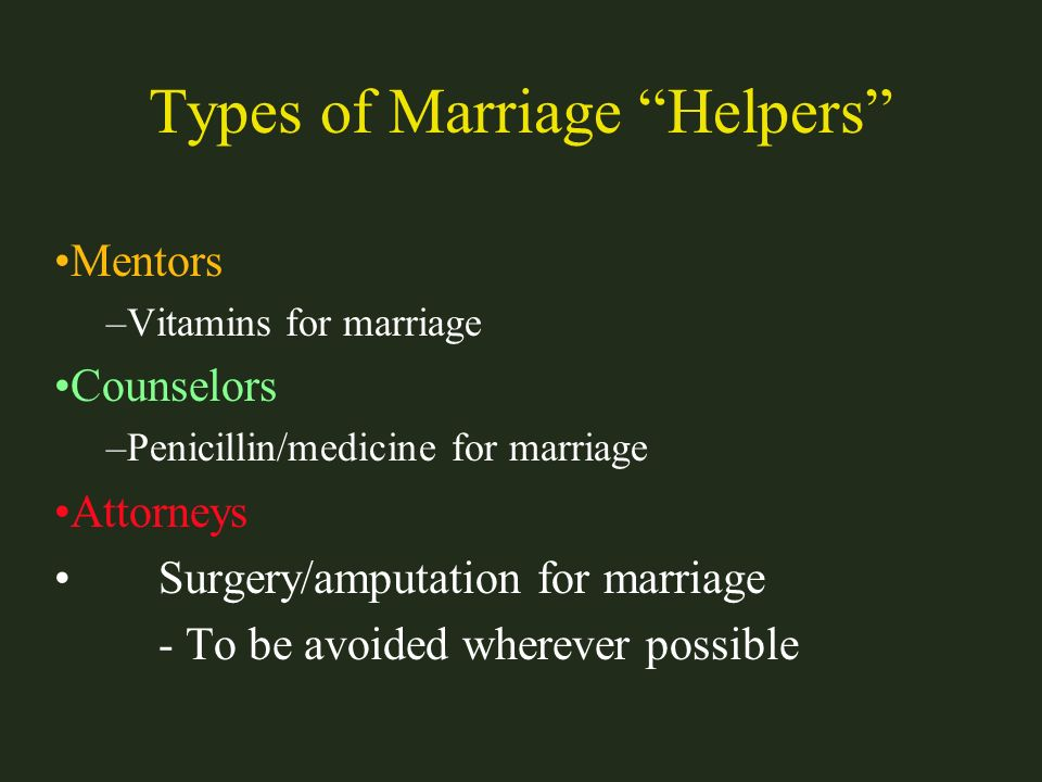 Types of Marriage Helpers