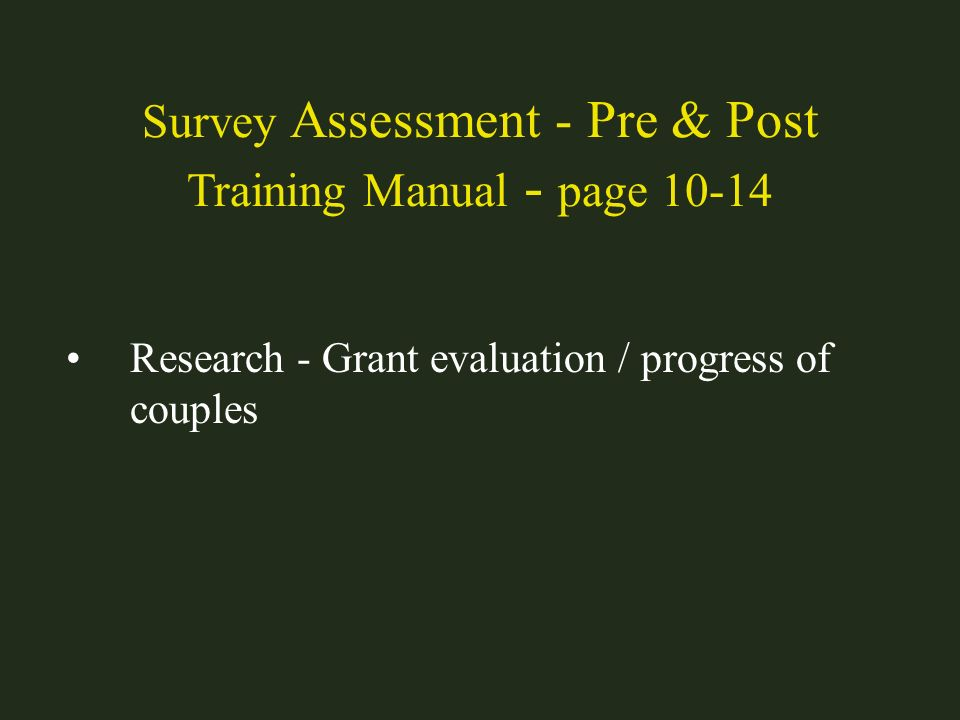 Survey Assessment - Pre & Post Training Manual - page 10-14
