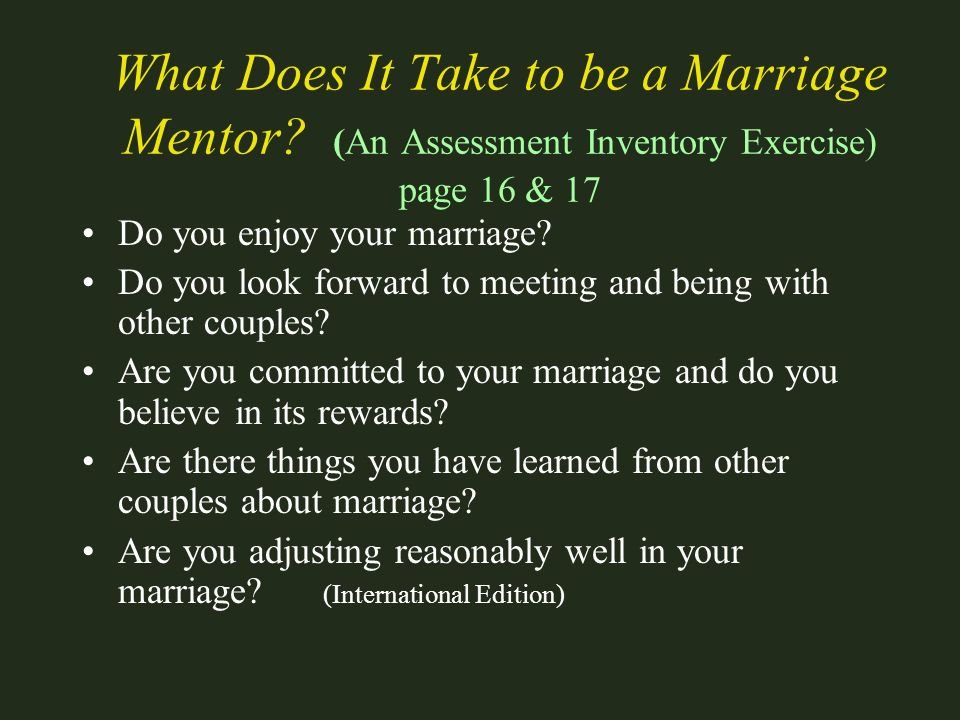 What Does It Take to be a Marriage Mentor
